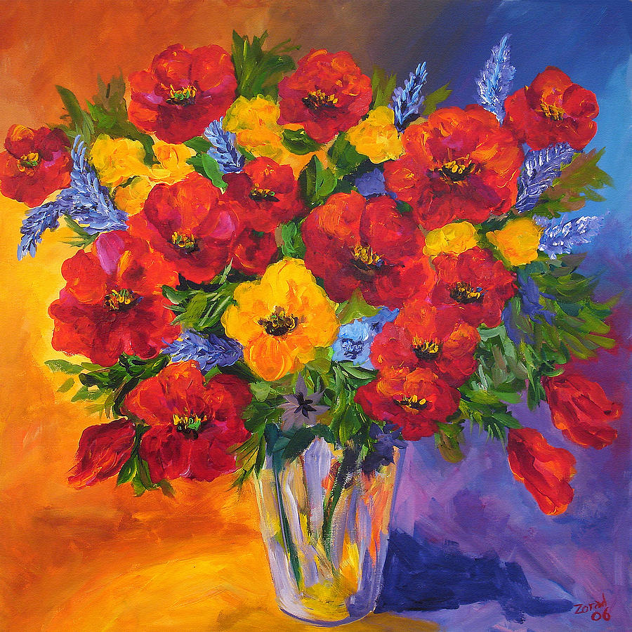 Mothers spring flowers painting by mary jo zorad for Spring canvas paintings