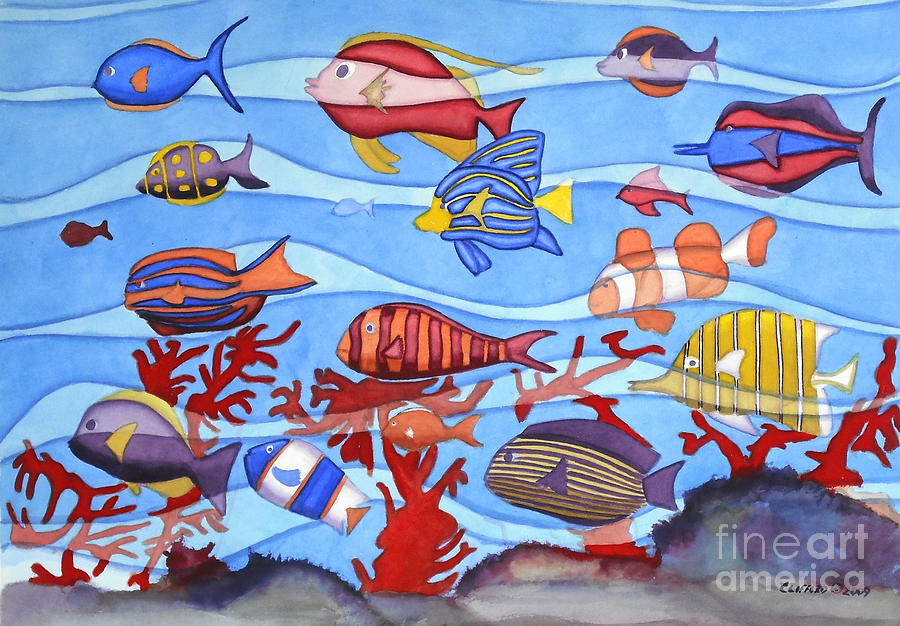 Tropical Fish Painting - Motion In The Ocean by Cory Clifford
