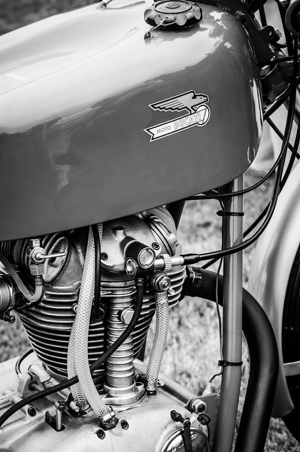 Transportation Photograph - Moto Ducati Motorcycle -2115bw by Jill Reger