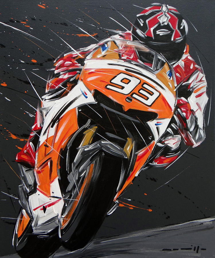 Moto Gp Marquez Honda 93 Painting by Roberto Muccilo
