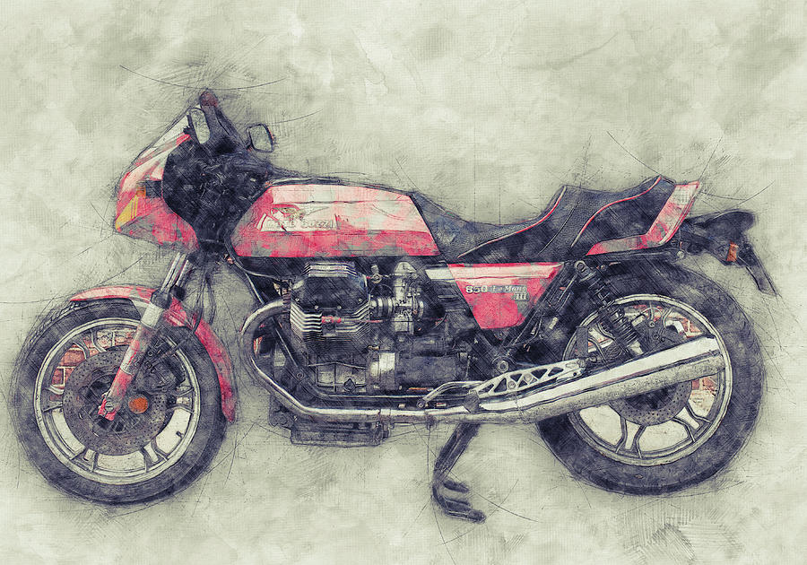 Moto Guzzi Le Mans 1 - Sports Bike - 1976 - Motorcycle Poster - Automotive Art Mixed Media