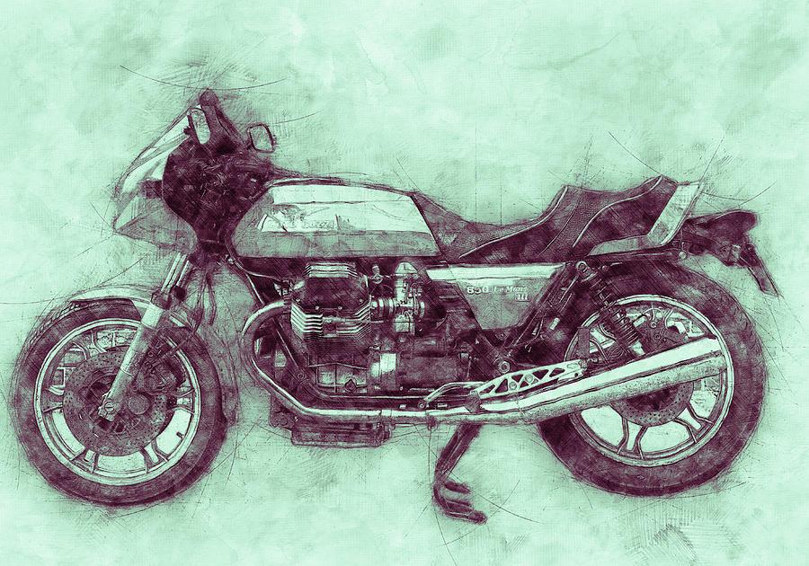 Moto Guzzi Mixed Media - Moto Guzzi Le Mans 3 - Sports Bike - 1976 - Motorcycle Poster - Automotive Art by Studio Grafiikka