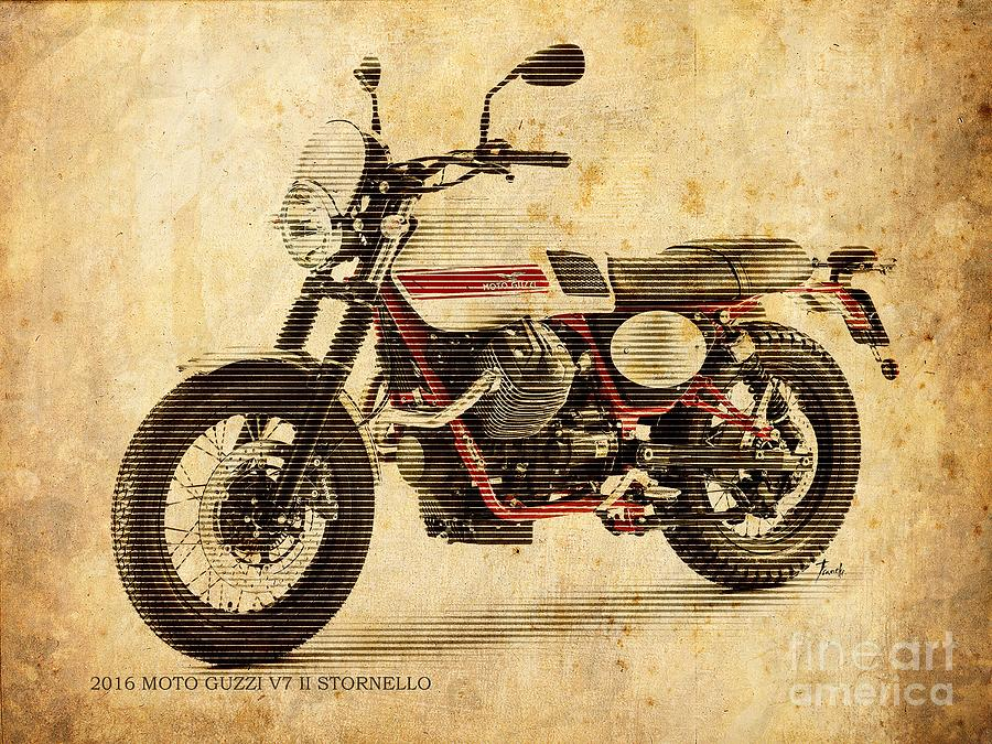 Moto Guzzi V7 II Stornello Vintage Poster Painting by Pablo Franchi