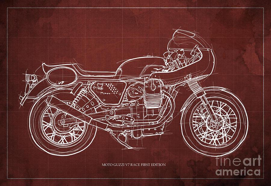 Moto Guzzi V7 Race First Edition Blueprint Blue Background Man Cave
