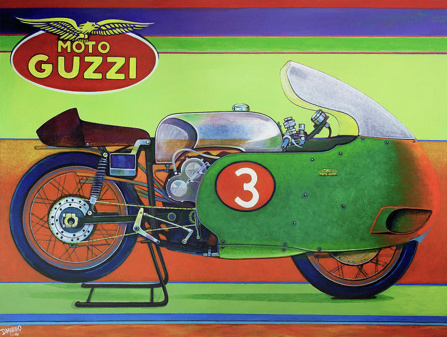 Grand Prix Painting - Moto Guzzi V8 by D-mark-o