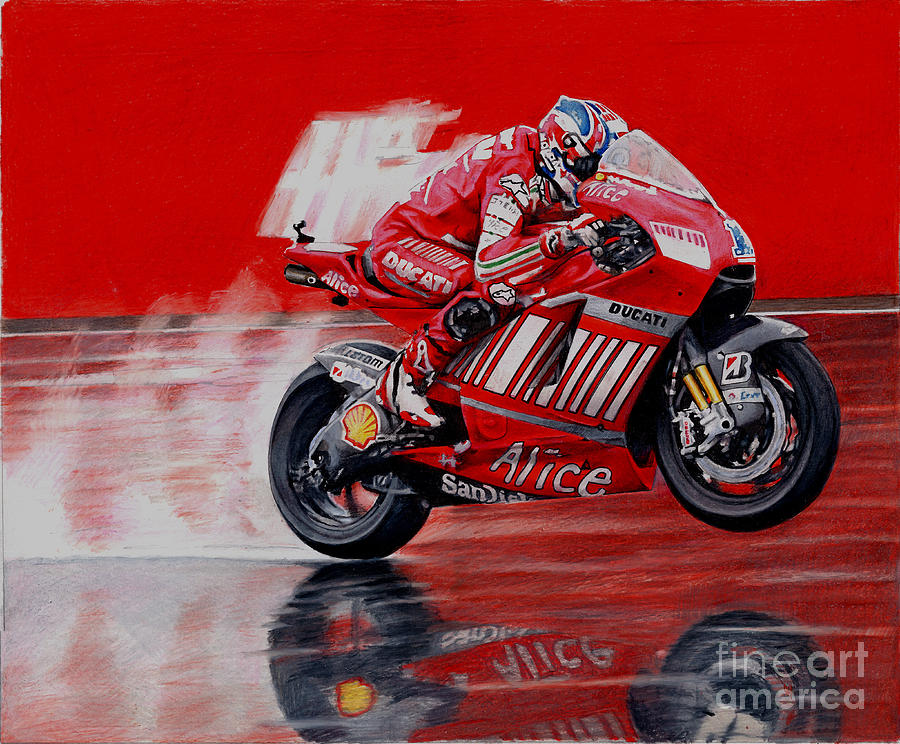 Color Pencil Mixed Media - motoGP alice ducati by Raoul Alburg