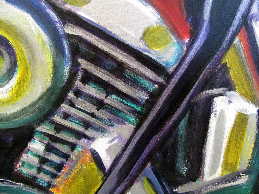 Motorcycle Painting - Motorcycle Abstract Engine 1 by Anita Burgermeister