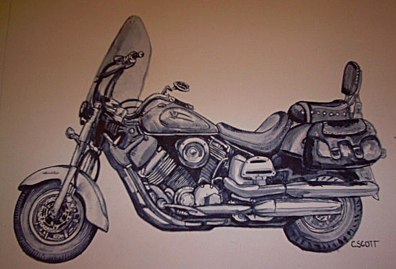 Motorcycle Painting - Motorcycle by Chelsey Scott