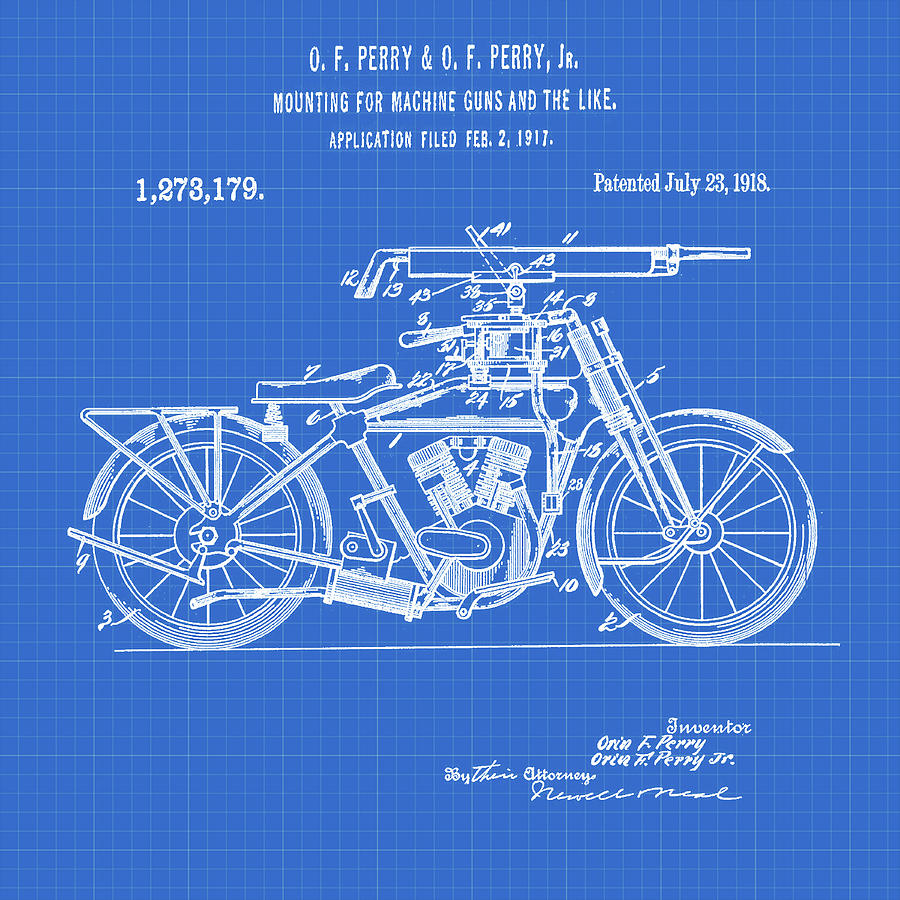 Motorcycle machine gun patent 1918 in blueprint digital art by motorcycle digital art motorcycle machine gun patent 1918 in blueprint by bill cannon malvernweather Images
