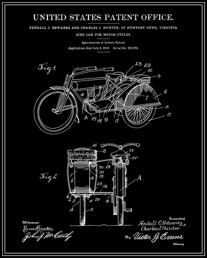 Patent Digital Art - Motorcycle Sidecar Patent 1912 - Black by Finlay McNevin