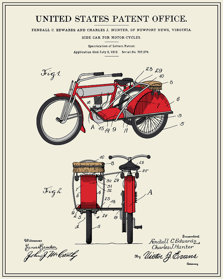 Patent Digital Art - Motorcycle Sidecar Patent 1912 by Finlay McNevin