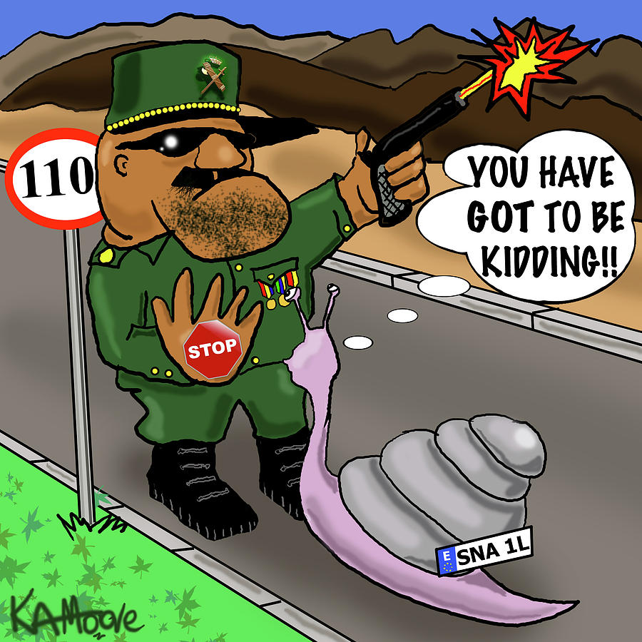 Guardia Civil Drawing - Motorway Madness by Kev Moore