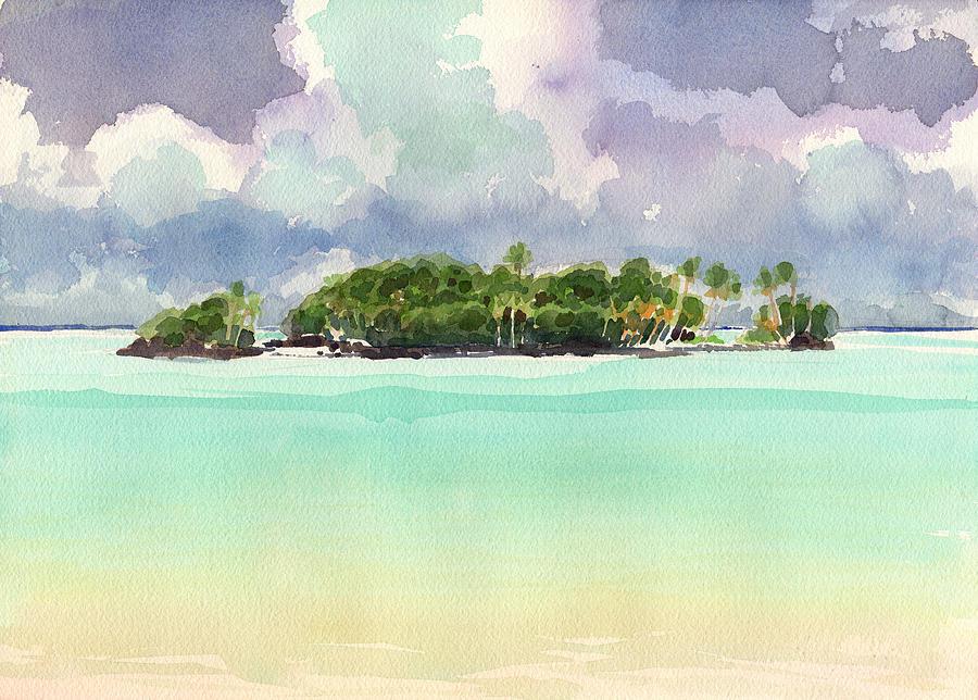 Landscape Painting - Motu Rapota, Aitutaki, Cook Islands, South Pacific by Judith Kunzle