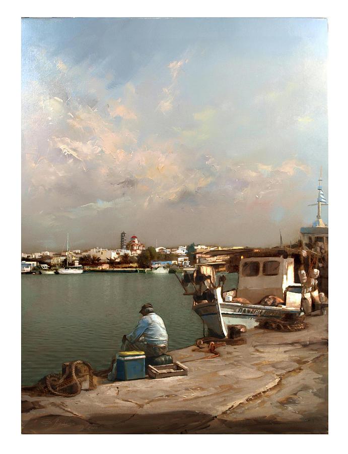 Pomegranates Painting - Moudania,harbour by Demetrios Vlachos