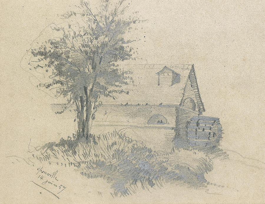 Moulin On The Lezarde Drawing By Claude Monet