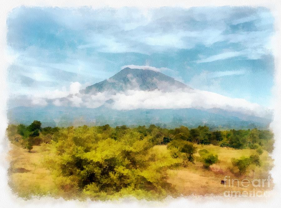 Mount Agung Painting - Mount Agung On The Island Paradise Of Bali by Sergey Lukashin