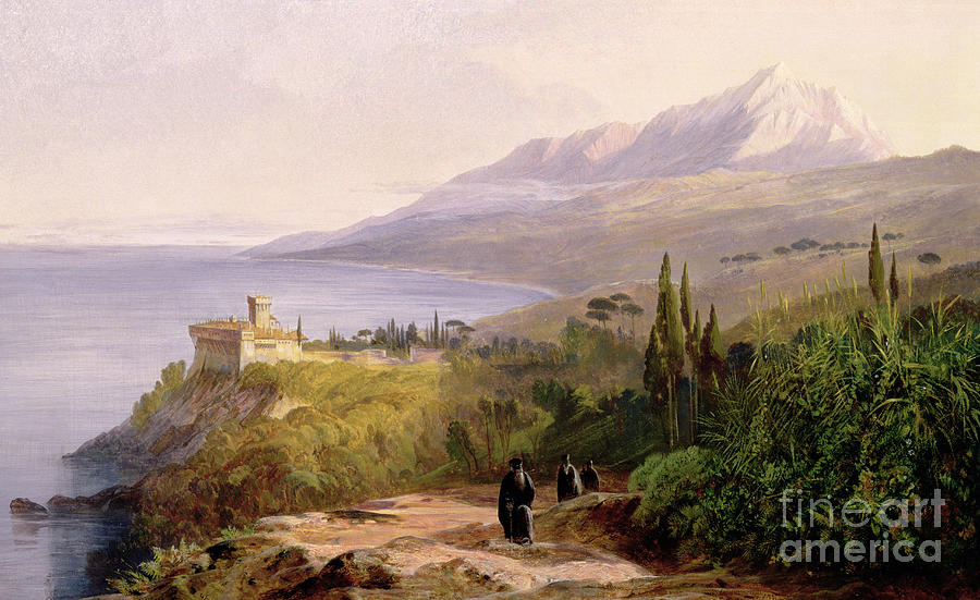 Mount Athos And The Monastery Stavroniketes Painting - Mount Athos And The Monastery Of Stavroniketes by Edward Lear