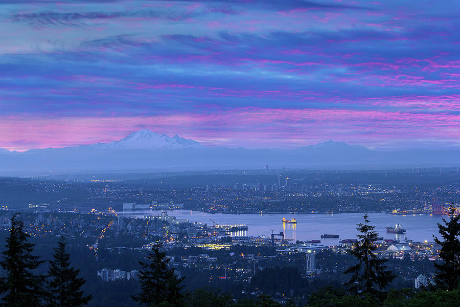 Mount Baker Photograph - Mount Baker And Vancouver Bc At Dawn by David Gn