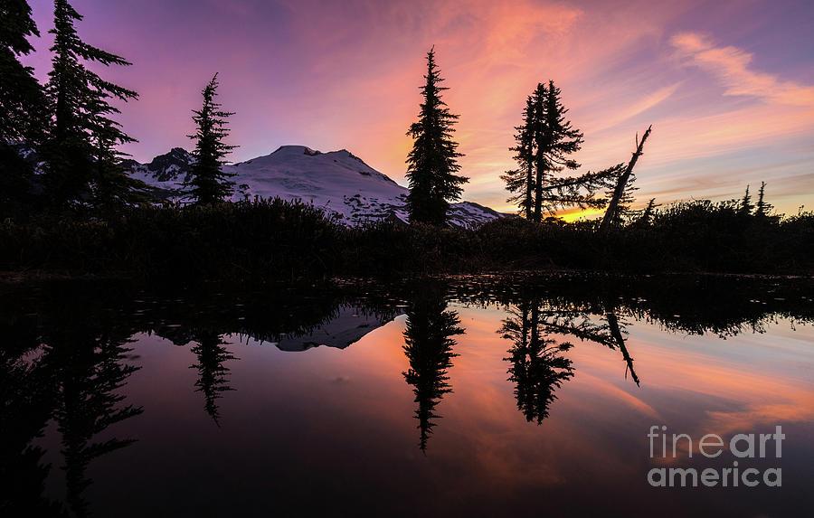 Shuksan Photograph - Mount Baker Sunrise Reflection by Mike Reid