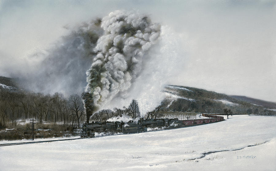 Trains Painting - Mount Carmel Eruption by David Mittner