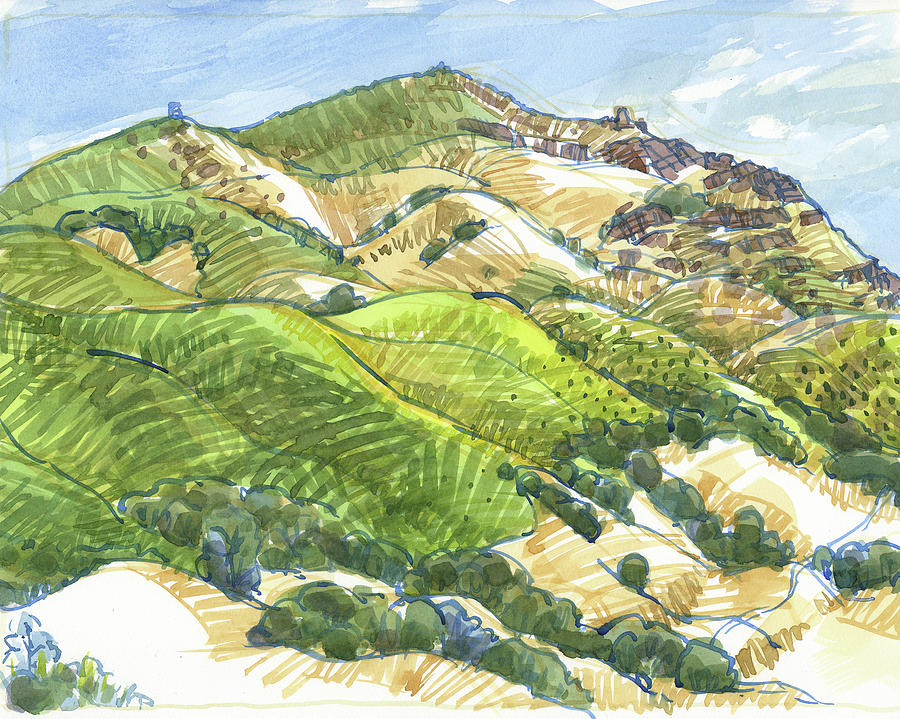 Landscape Painting - Mount Diablo From Curry Point by Judith Kunzle