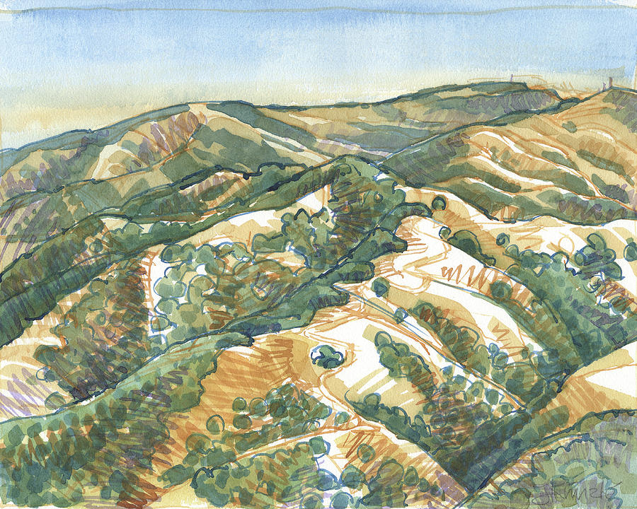 Landscape Painting - Mount Diablo, Round Top Viewpoint by Judith Kunzle
