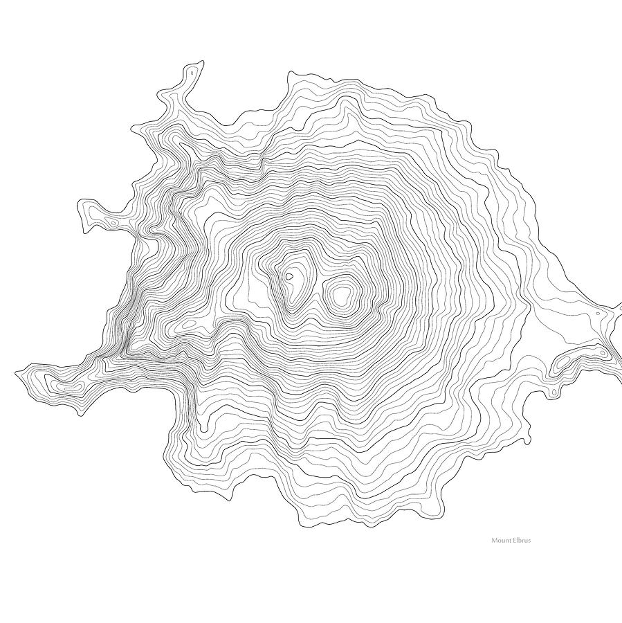 Mount Elbrus Art Print Contour Map Of Mount Elbrus In Russia - Mt elbrus map