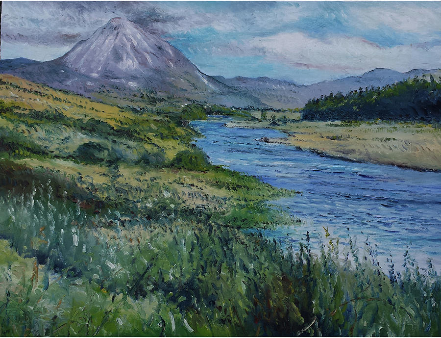 Dunlewy Painting - Mount Errigal Co. Donegal Ireland. 2016 by Enver Larney