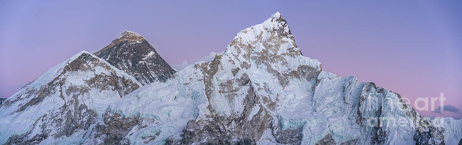 Everest Photograph - Mount Everest Lhotse And Ama Dablam Just After Sunset Panorama by Mike Reid