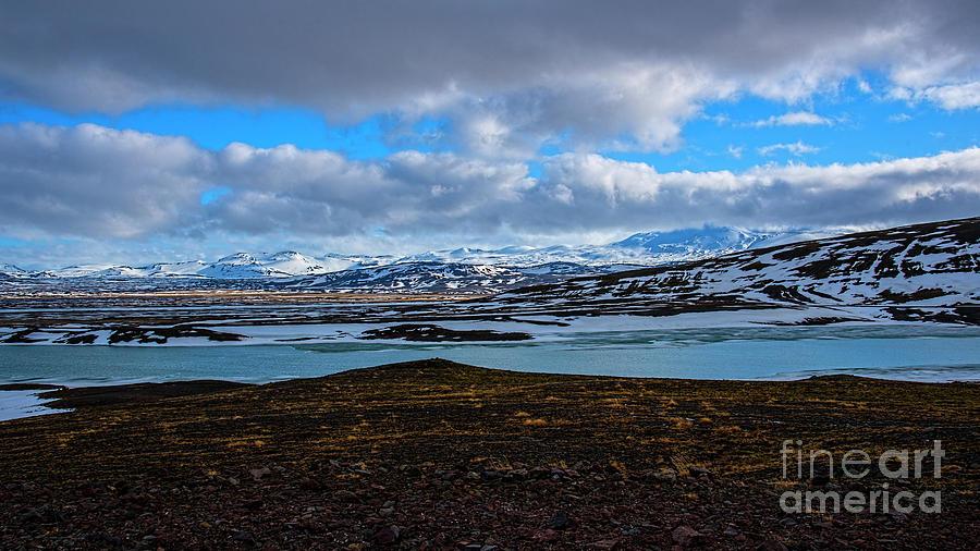 Mount Hekla Across Lake Bjarnalon Photograph