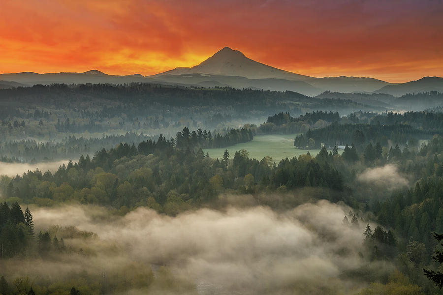 Mount Hood Photograph - Mount Hood And Sandy River Valley Sunrise by David Gn