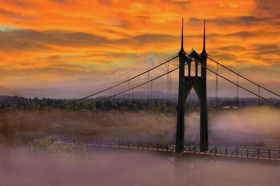 Saint Johns Photograph - Mount Hood By St Johns Bridge During Sunrise by David Gn
