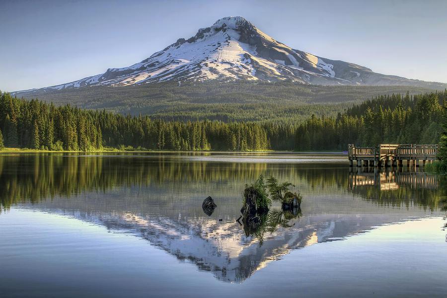 Mount Photograph - Mount Hood Reflection on Trillium Lake by David Gn