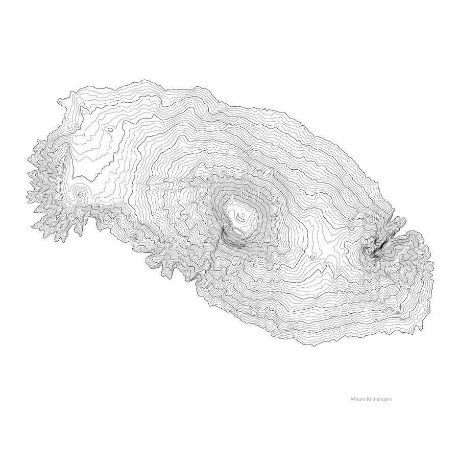 Mount Kilimanjaro Art Print Contour Map Of Mount Kilimanjaro In ...