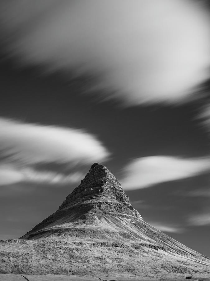 2018 Photograph - Mount Kirkjufell in Iceland under the sky by Dalibor Hanzal