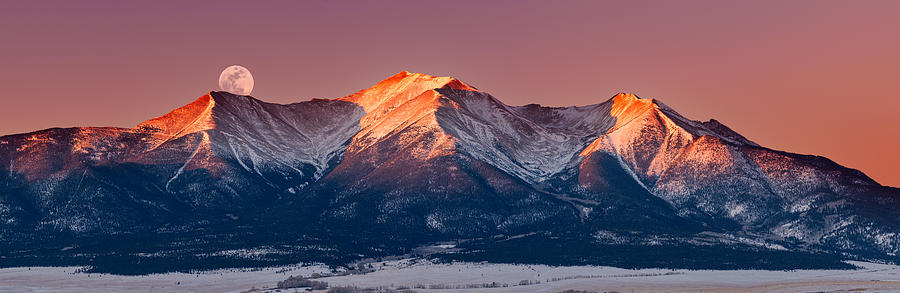 Pano Photograph - Mount Princeton Moonset At Sunrise by Darren White