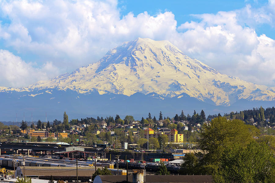 Mount Rainier Photograph - Mount Rainer Over Port Of Tacoma by David Gn