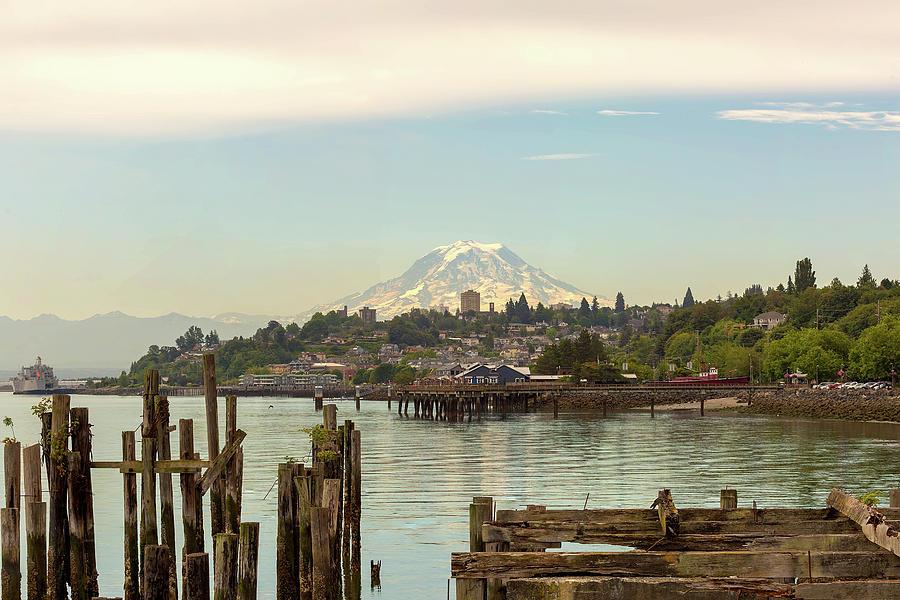 Mount Rainier Photograph - Mount Rainier From City Of Tacoma Washington Waterfront by David Gn