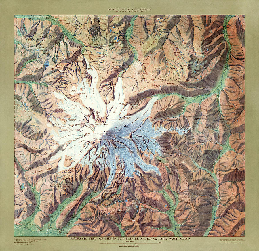 Mount Rainier National Park Map By The Us Geological Survey - 1914