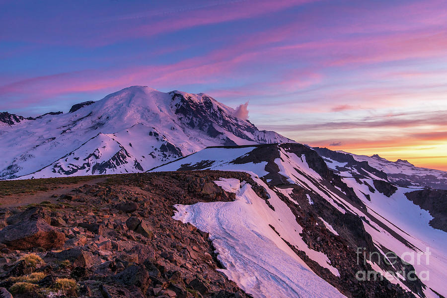 Rainier Photograph - Mount Rainier National Park Second Burroughs Sunset Landscape by Mike Reid