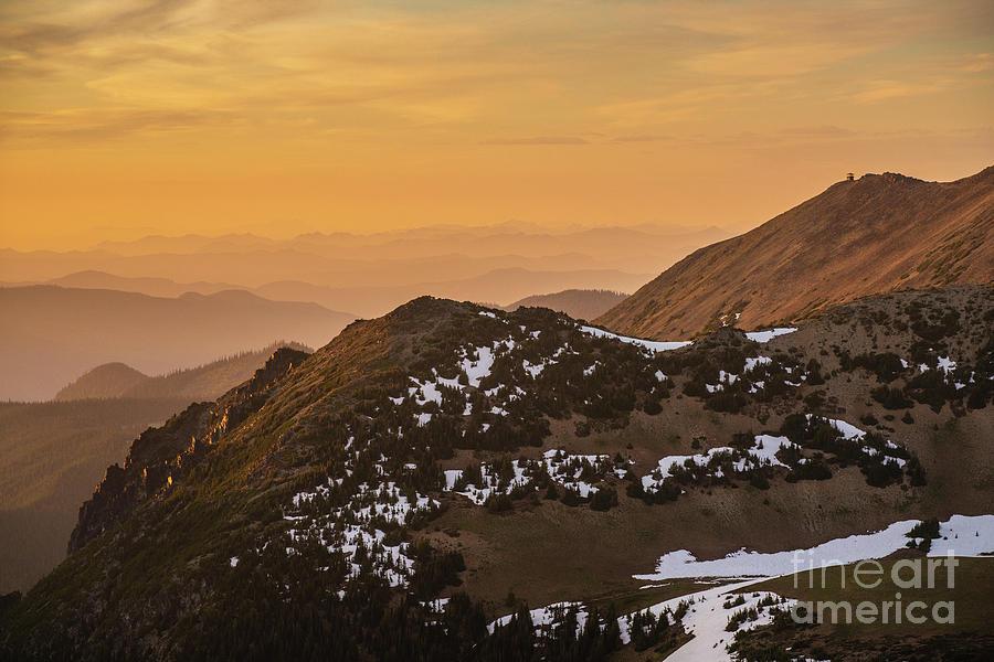 Rainier Photograph - Mount Rainier National Park Sunset Layers Past Fremont Lookout by Mike Reid