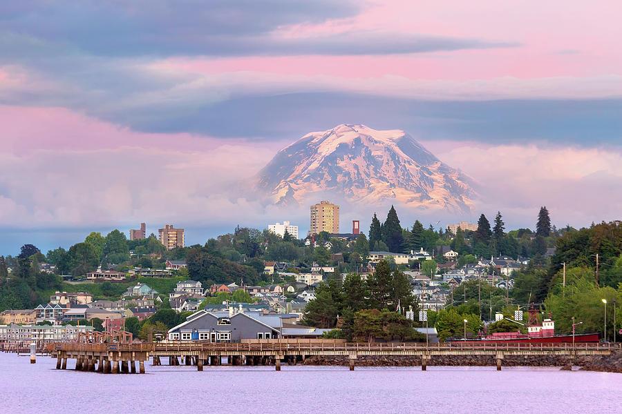 Mount Rainier Photograph - Mount Rainier over Tacoma Waterfront at Dusk by David Gn