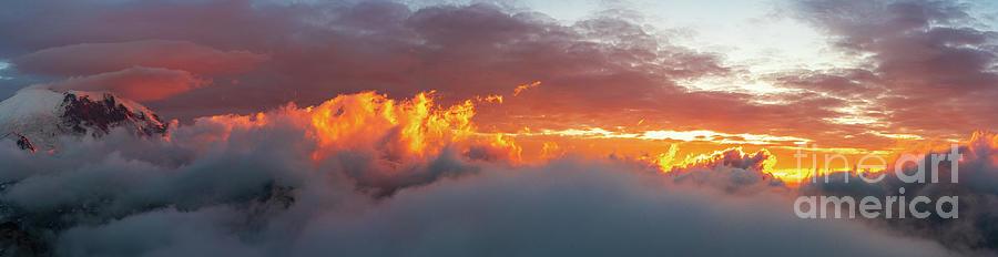 Mount Rainier Sunset Clouds On Fire Panorama Photograph