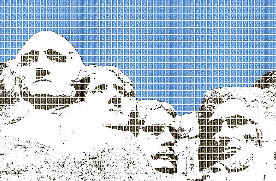 Rushmore Digital Art - Mount Rushmore - Blue by Gary Hogben