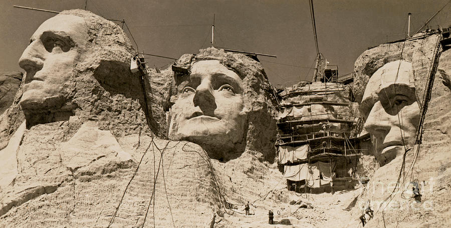 Mount Rushmore Photograph - Mount Rushmore Construction  by American School