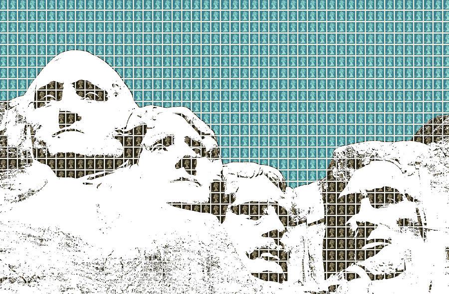Rushmore Digital Art - Mount Rushmore - Dark Blue by Gary Hogben