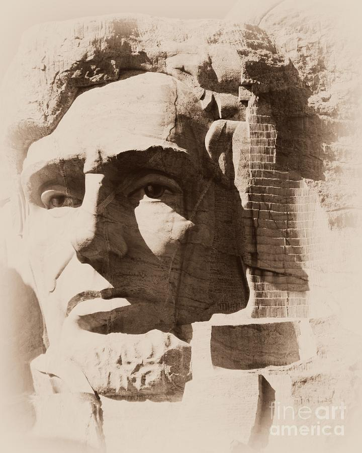 Mount Rushmore Faces Lincoln Photograph
