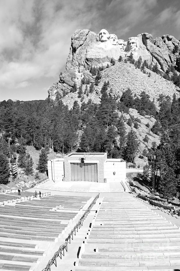 South Dakota Photograph - Mount Rushmore National Monument Amphitheater South Dakota Black And White by Shawn OBrien
