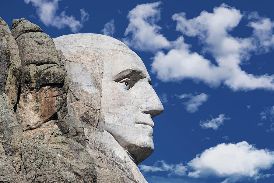 Black Hills Photograph - Mount Rushmore Profile of George Washington by Tom Mc Nemar