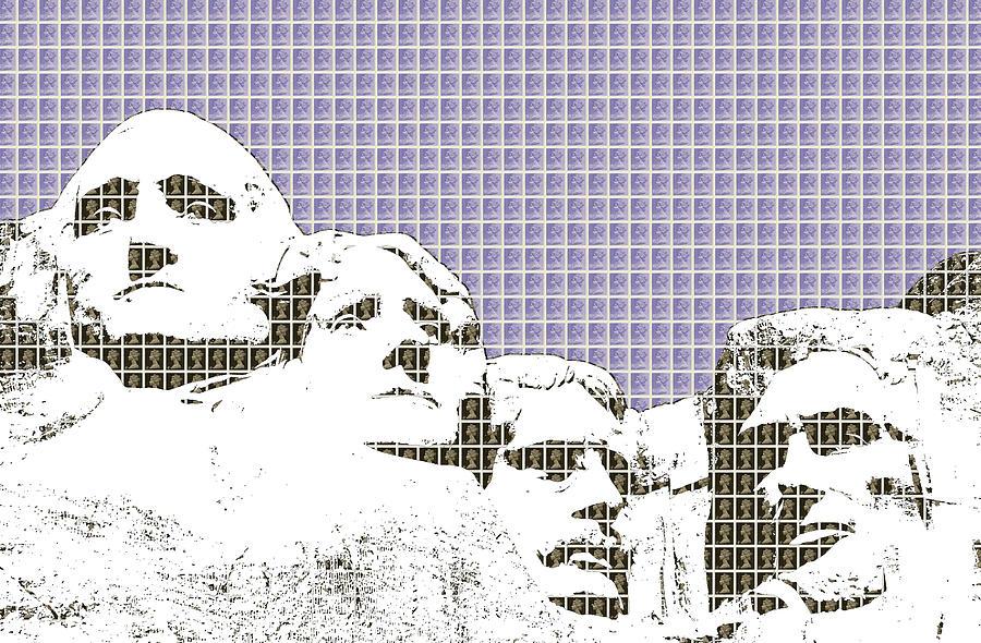 Rushmore Digital Art - Mount Rushmore - Violet by Gary Hogben